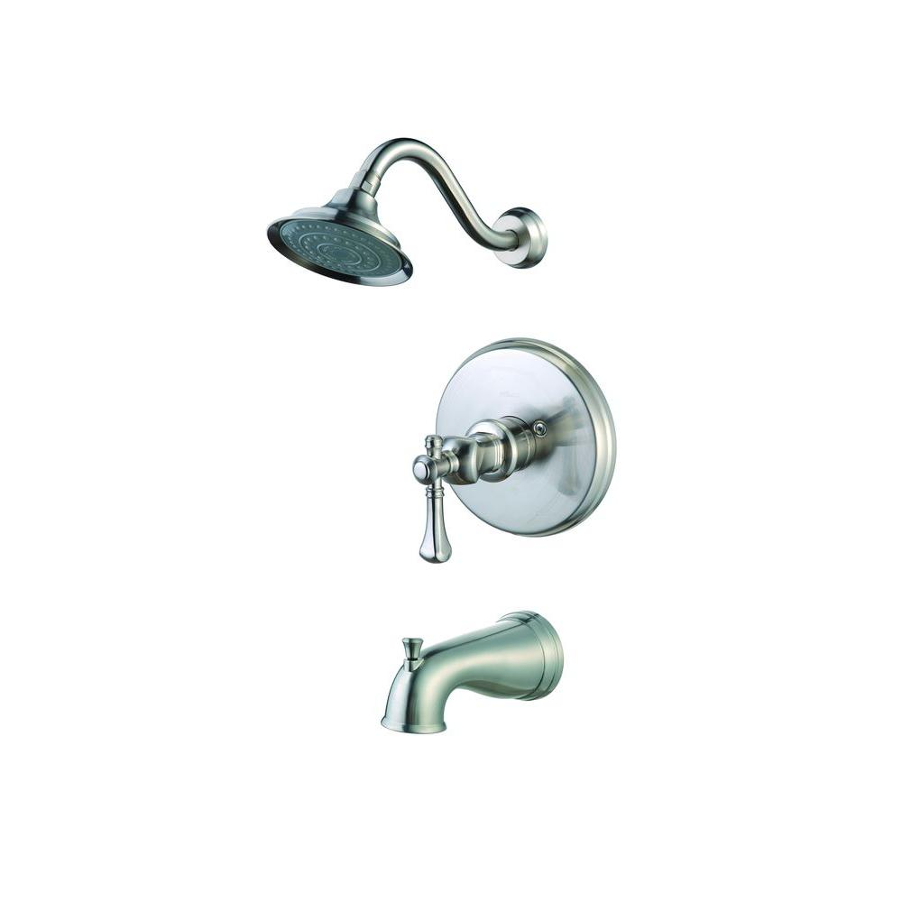 Pegasus Verdanza Single-Handle Tub and Shower in Brushed Nickel