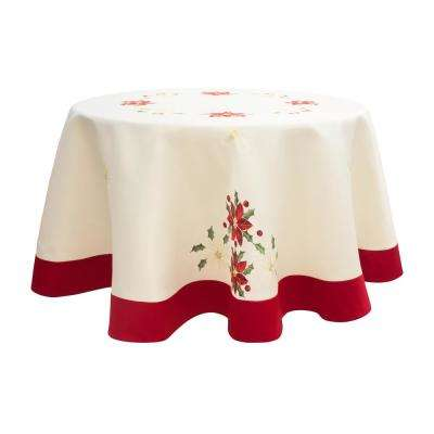 Holiday 70 in. Embroidered Poinsettia Round Tablecloth with Red Trim Border