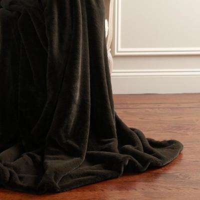 60 in. L Luxe Faux Fur Throw in Chocolate