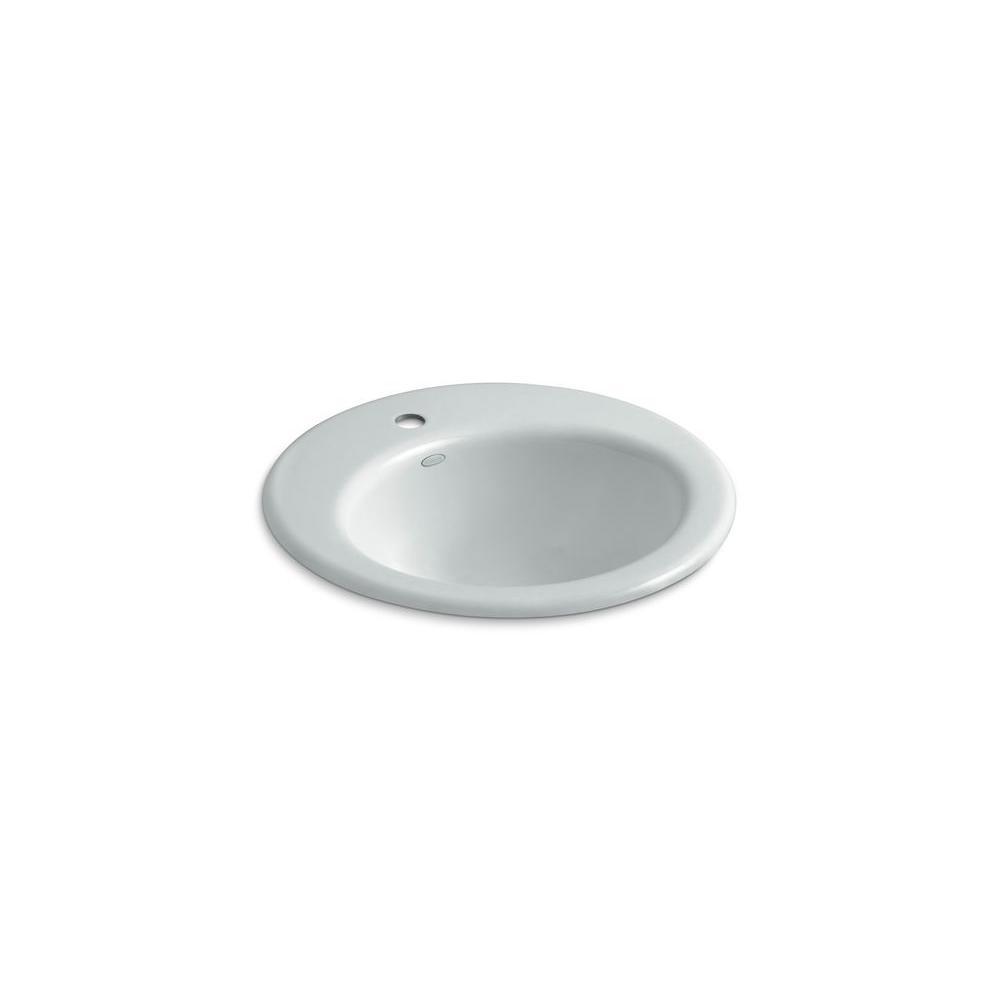 KOHLER Radiant Drop-In Cast Iron Bathroom Sink in Ice Grey with Overflow Drain