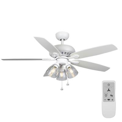 Rockport 52 in. Matte White LED Ceiling Fan with Light kit Works with Google Assistant and Alexa