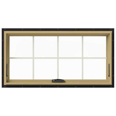 48 in. x 24 in. W-2500 Series Black Painted Clad Wood Awning Window w/ Natural Interior and Screen