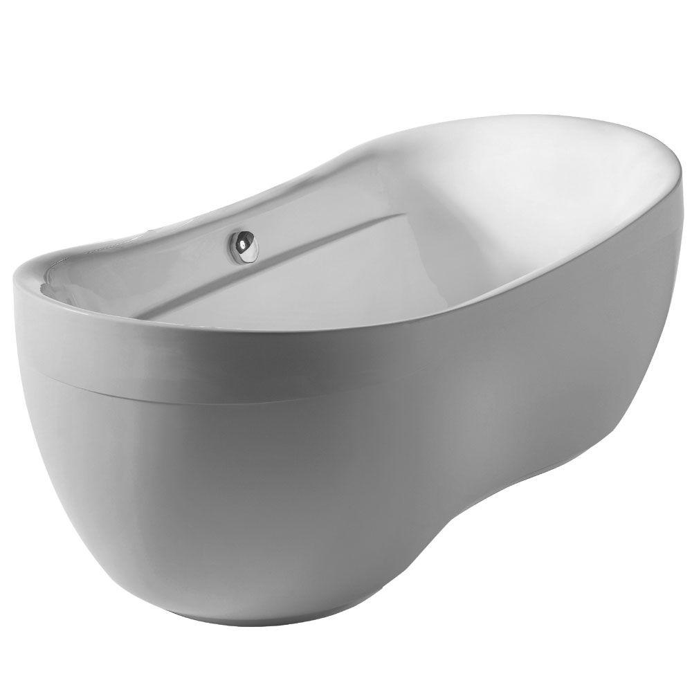 Whitehaus Collection Bathahus 5.9 ft. Lucite Acrylic Center Drain Oval Freestanding Bathtub in White