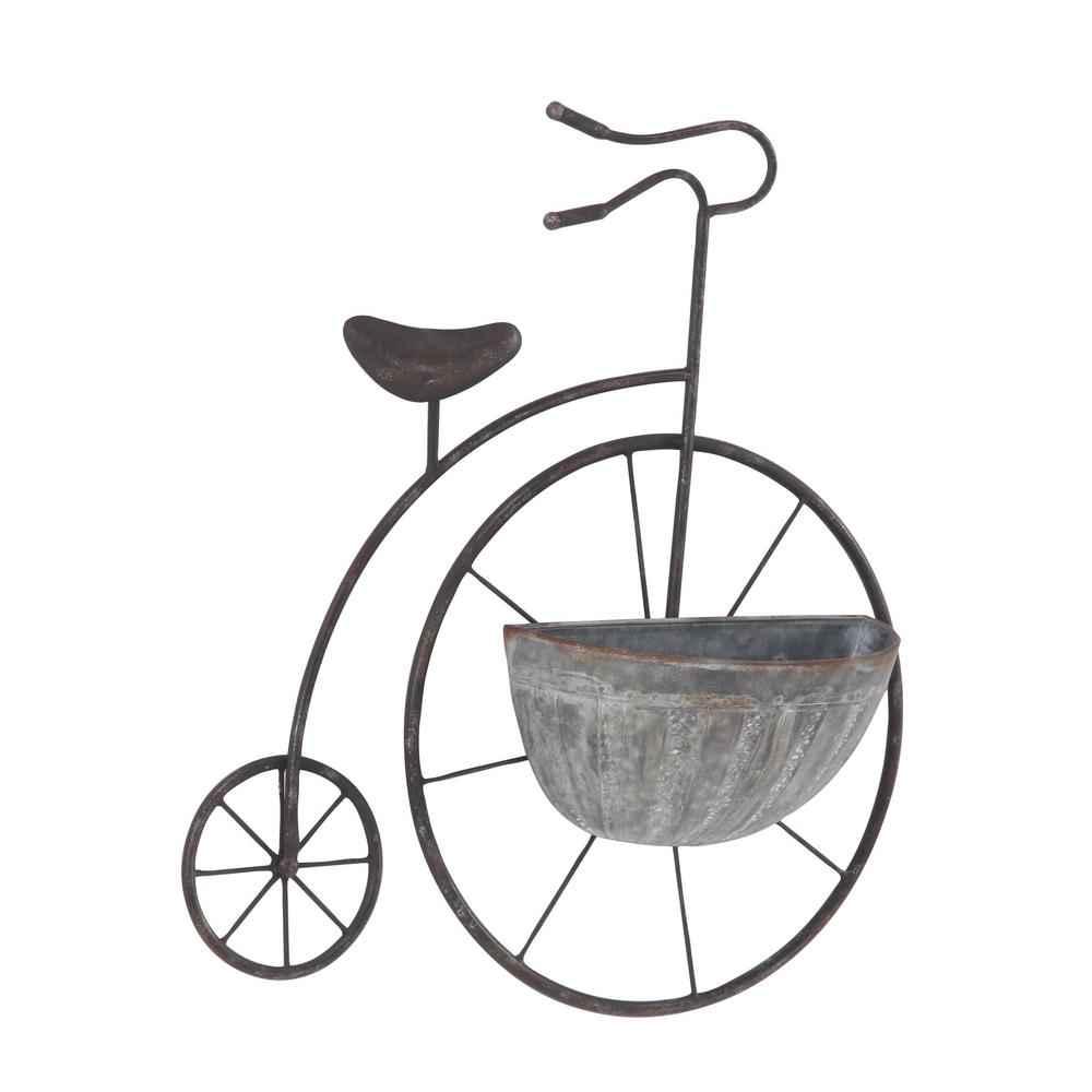 Litton Lane Brown Iron Penny Farthing Wall Planter With Silver