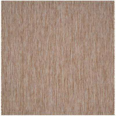 Courtyard Natural/Black 7 ft. x 7 ft. Indoor/Outdoor Square Area Rug