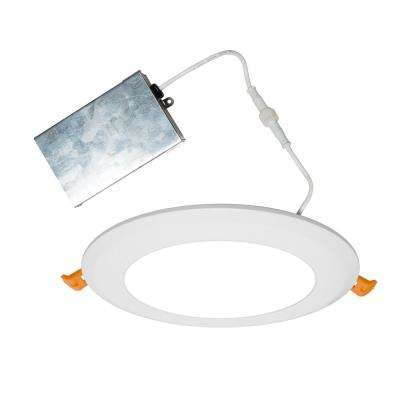 Edgelit 6 in. Round White Powder Coat Integrated LED Recessed Kit in 5000K