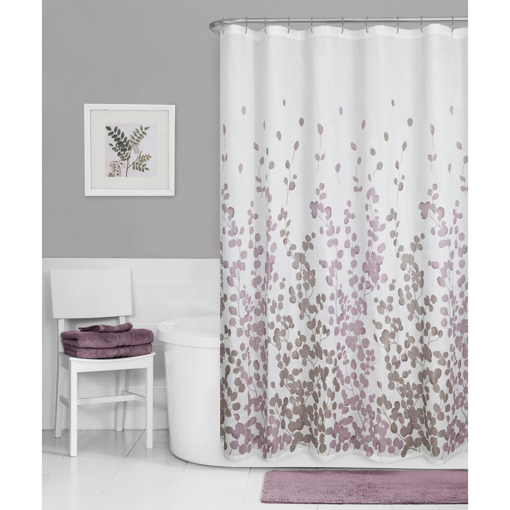 Maytex 70 In X 72 In Sylvia Leaves Printed Faux Silk Fabric Shower