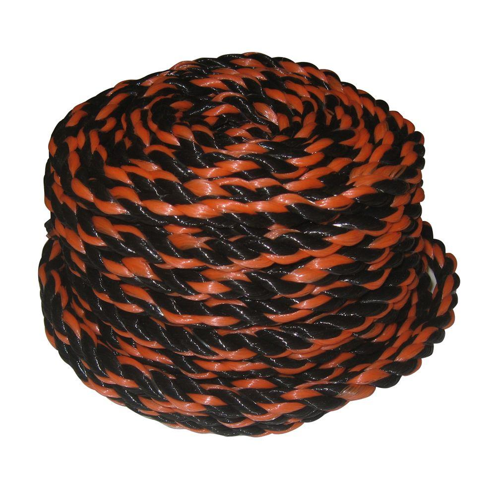 3/8 in. x 50 ft. Black/Orange Polypropylene Truck Rope