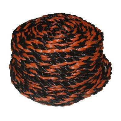 1/2 in. x 50 ft. Polypropylene Truck Rope, Black and Orange