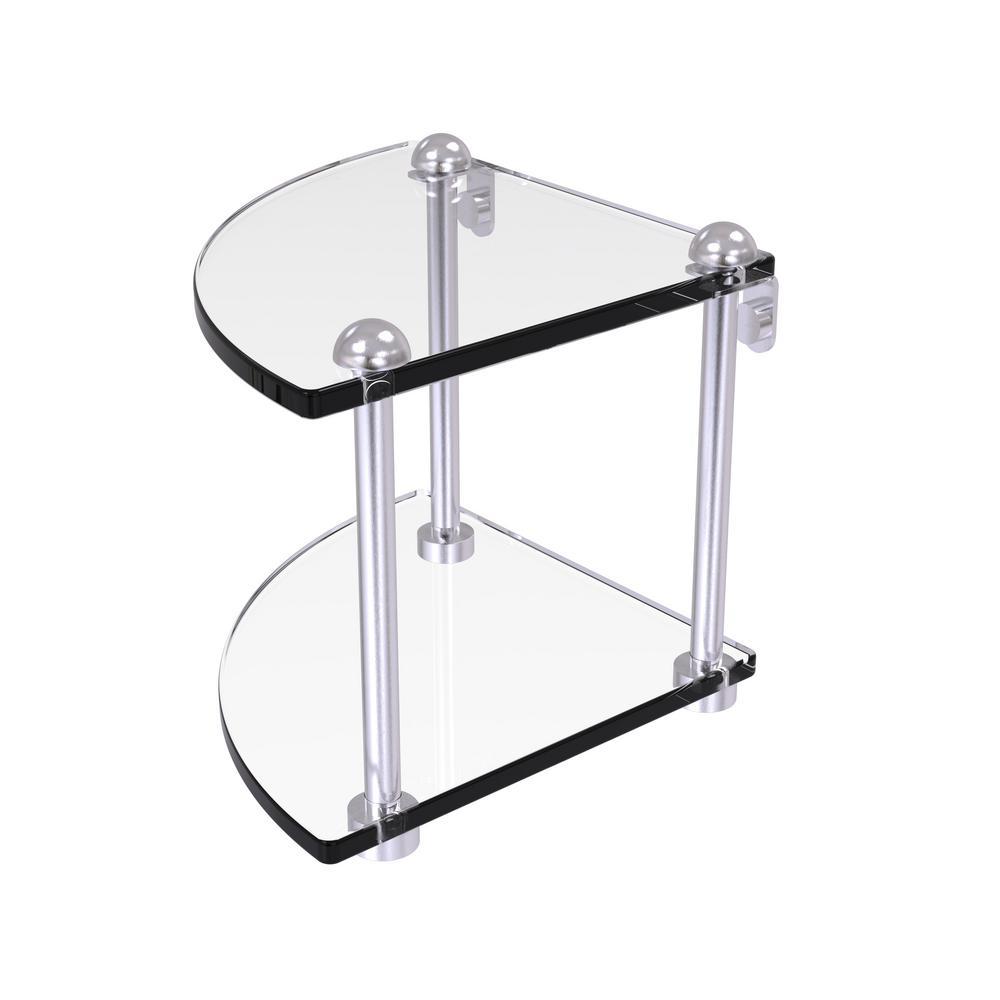8 in. 2-Tier Corner Glass Shelf in Satin Chrome