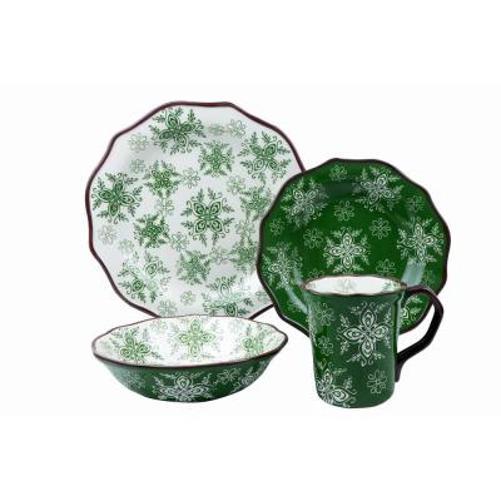 Samana Collection 16-Piece Euro Green Wavy Edge Stoneware Set