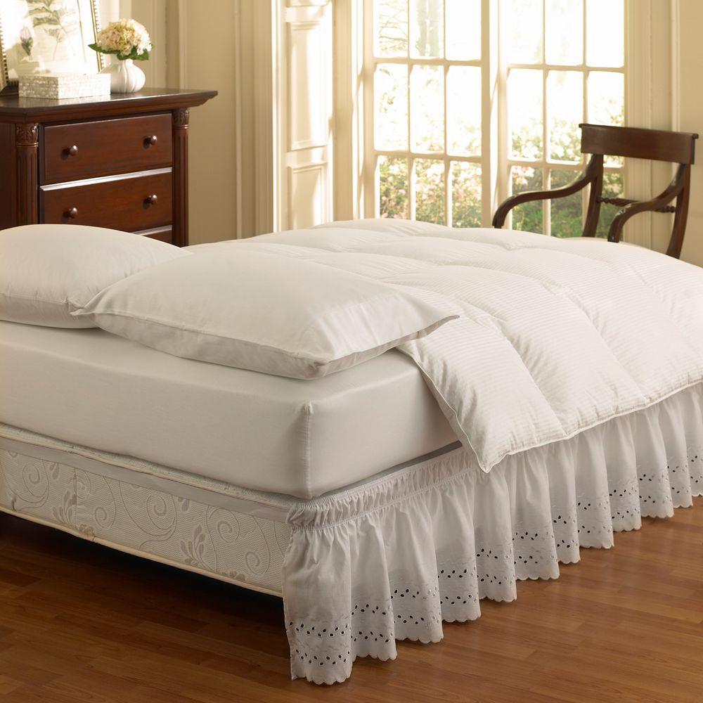 null Ruffled Wrap Around White Eyelet Full Bedskirt