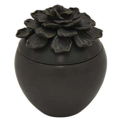 6.5 in. Porcelain Black Ceramic Flower Box