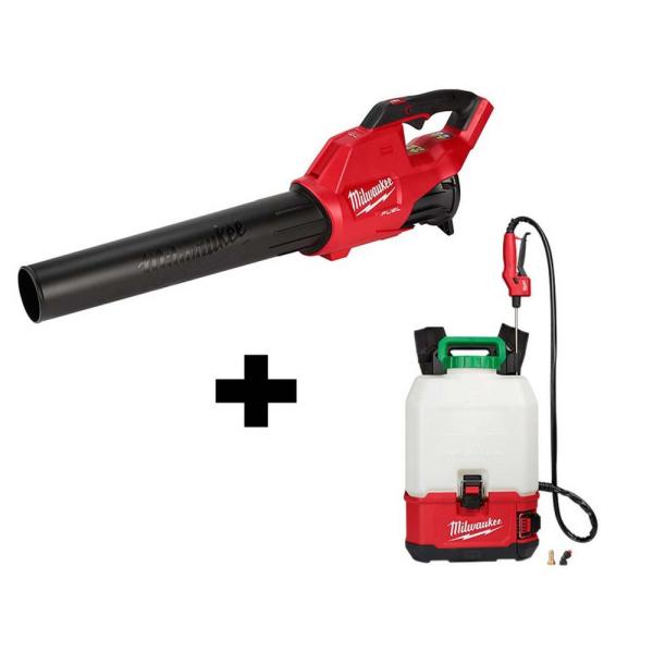 M18 18-Volt Lithium-Ion Cordless Switch Tank Backpack Pesticide Sprayer & FUEL 120 MPH 450 CFM Handheld Blower Combo Kit
