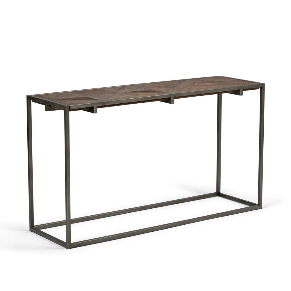 Avery Distressed Java Brown Wood Inlay Console Sofa Table