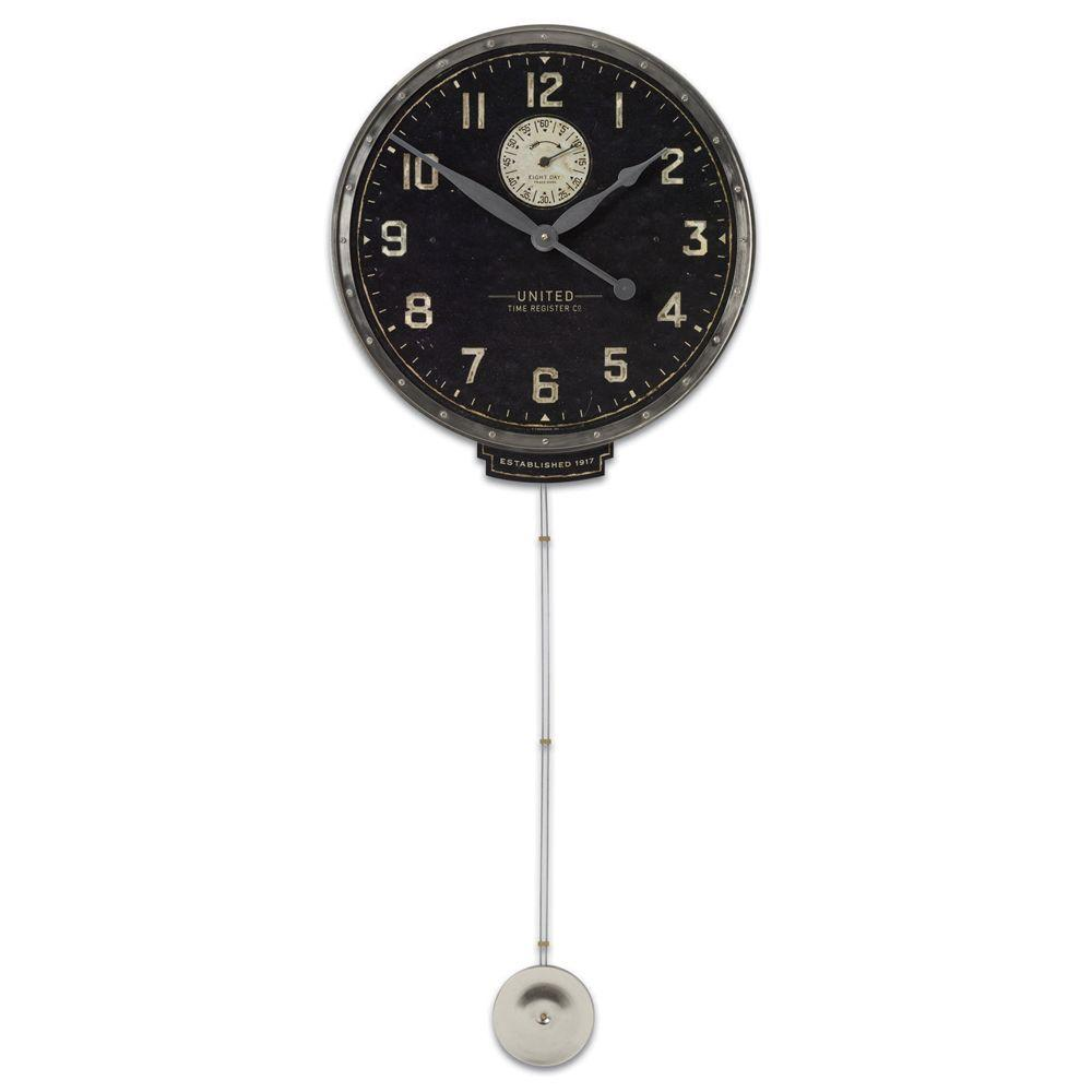 Global Direct Black Antique Reproduction Wall Clock with Long Pendulum-DISCONTINUED