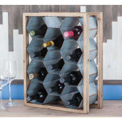 20 in. x 7 in. x 15 in. Wood and Iron Beehive Wine Holder