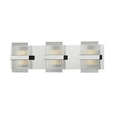 Desiree 24-Watt Polished Chrome with Clear Lined Glass Integrated LED Bath Light