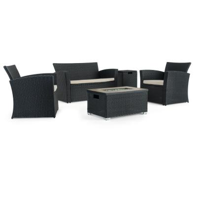 Magna Black 4-Piece Wicker Patio Fire Pit Conversation Set with Beige Cushions