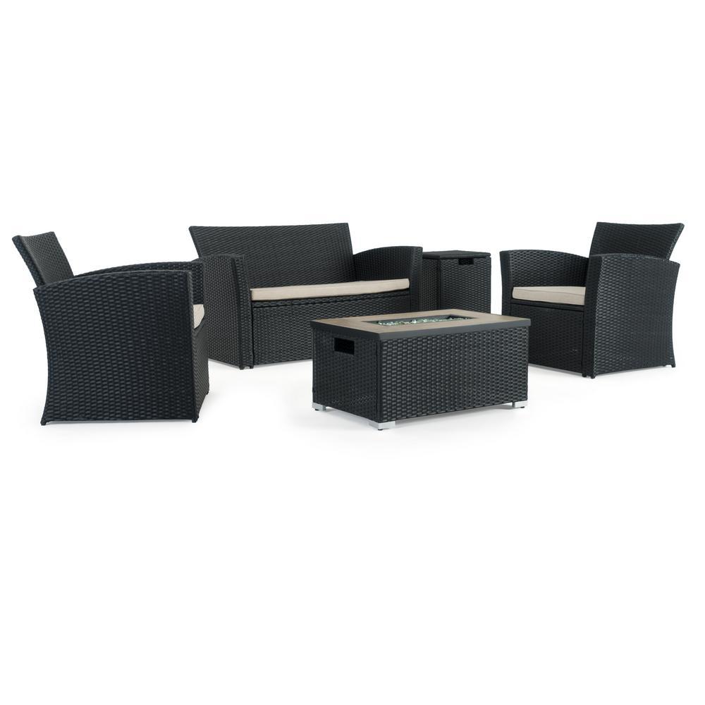 Galvanized Patio Furniture.Magna Black 4 Piece Wicker Patio Fire Pit Conversation Set With Beige Cushions