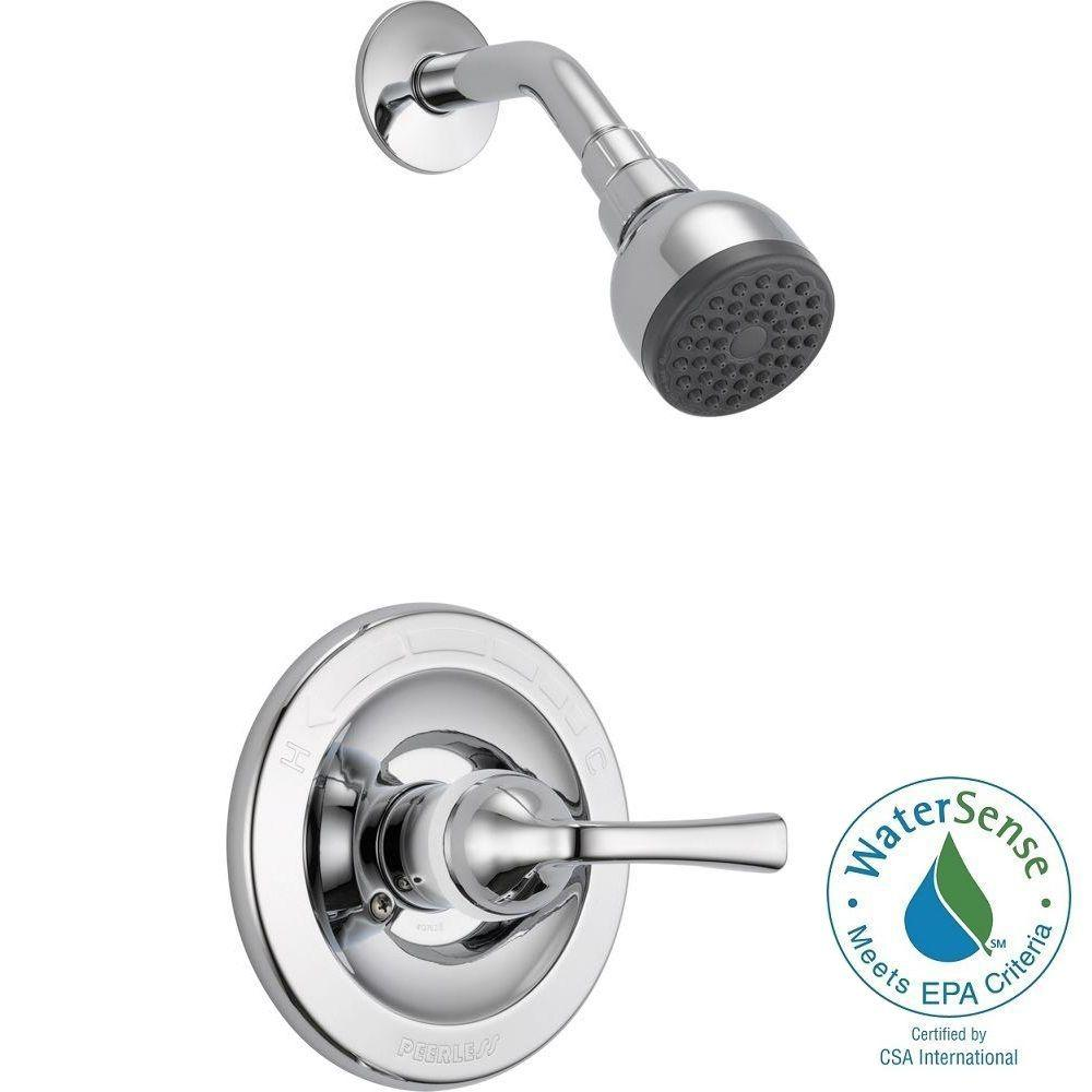 Foundations Single Handle 1 Spray Shower Faucet In Chrome (Valve Included)