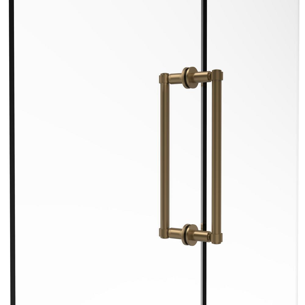 Contemporary 12 in. Back-to-Back Shower Door Pull in Brushed Bronze