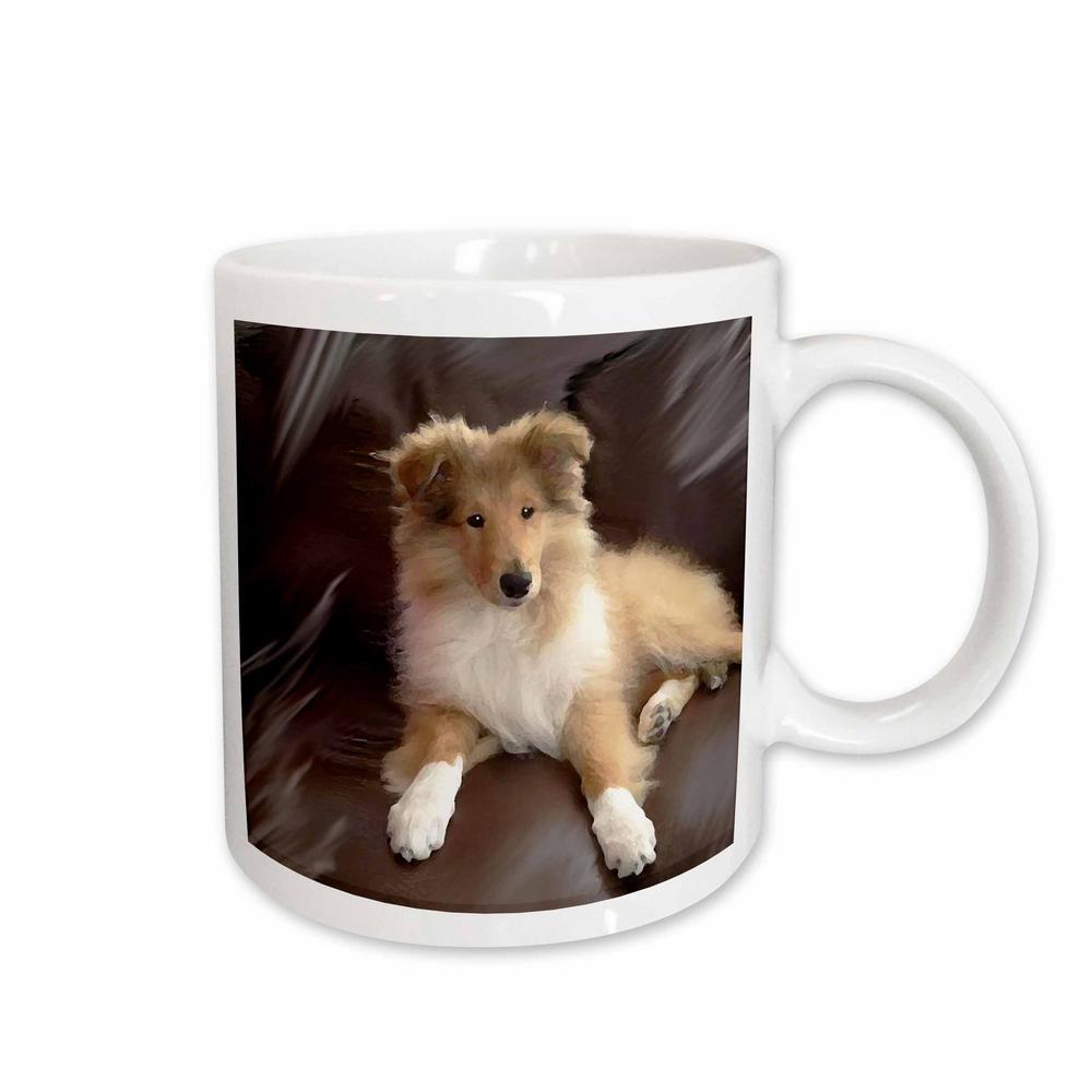 Dogs 11 oz. White Ceramic Rough Collie Puppy Mug