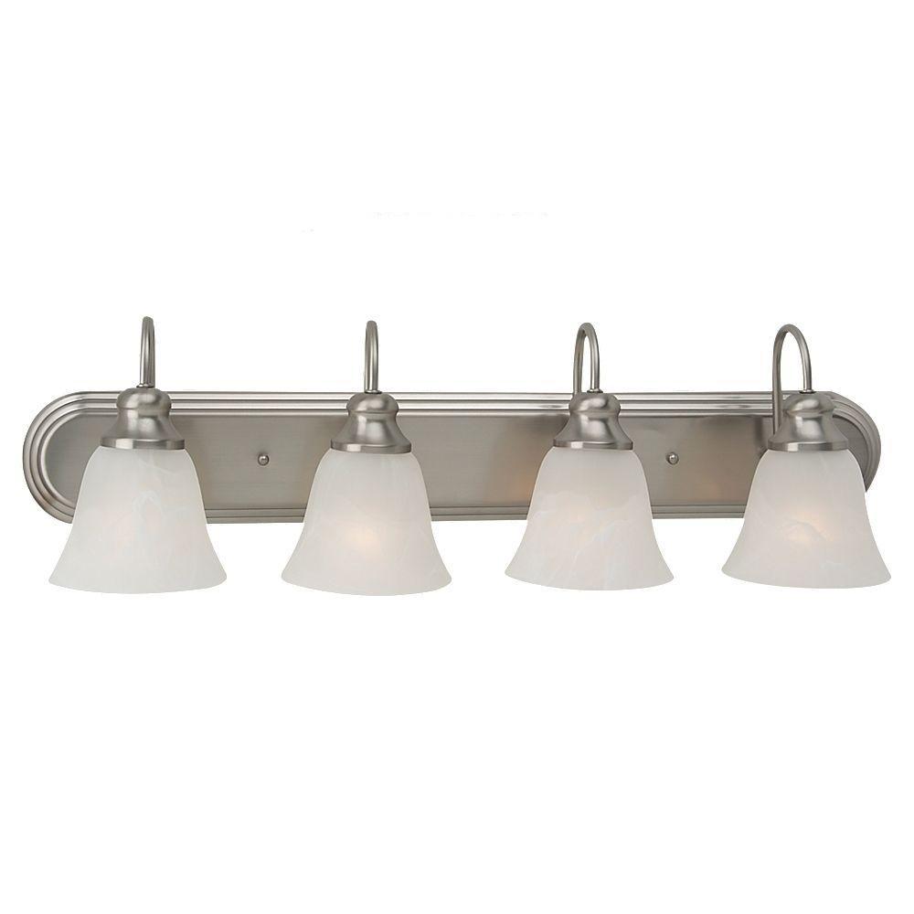 sea gull lighting windgate 4 light brushed nickel vanity fixture 44942 962 the home depot. Black Bedroom Furniture Sets. Home Design Ideas