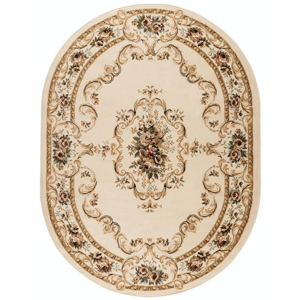 Tayse Rugs Laguna Beige 5 Ft 3 In X 7 Ft 3 In Oval