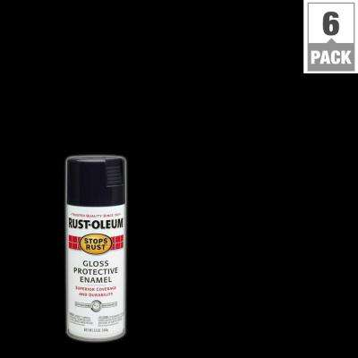 12 oz. Protective Enamel Gloss Black Spray Paint (6-Pack)