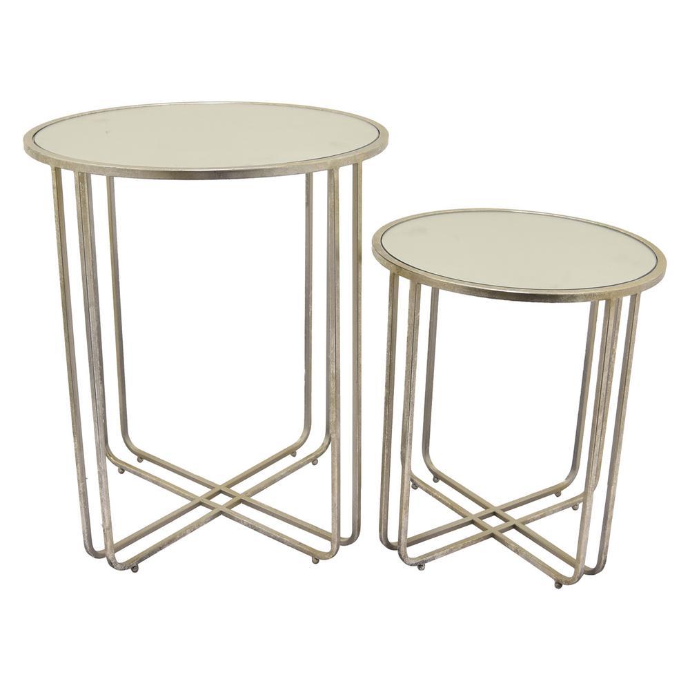Three Hands 24 In Silver Metal Mirror Tables