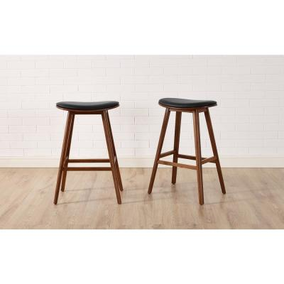 Corona 26 in. Exotic 100% Solid Bamboo Counter Stool with Top Grain Leather Upholstered Seat (Set of 2)