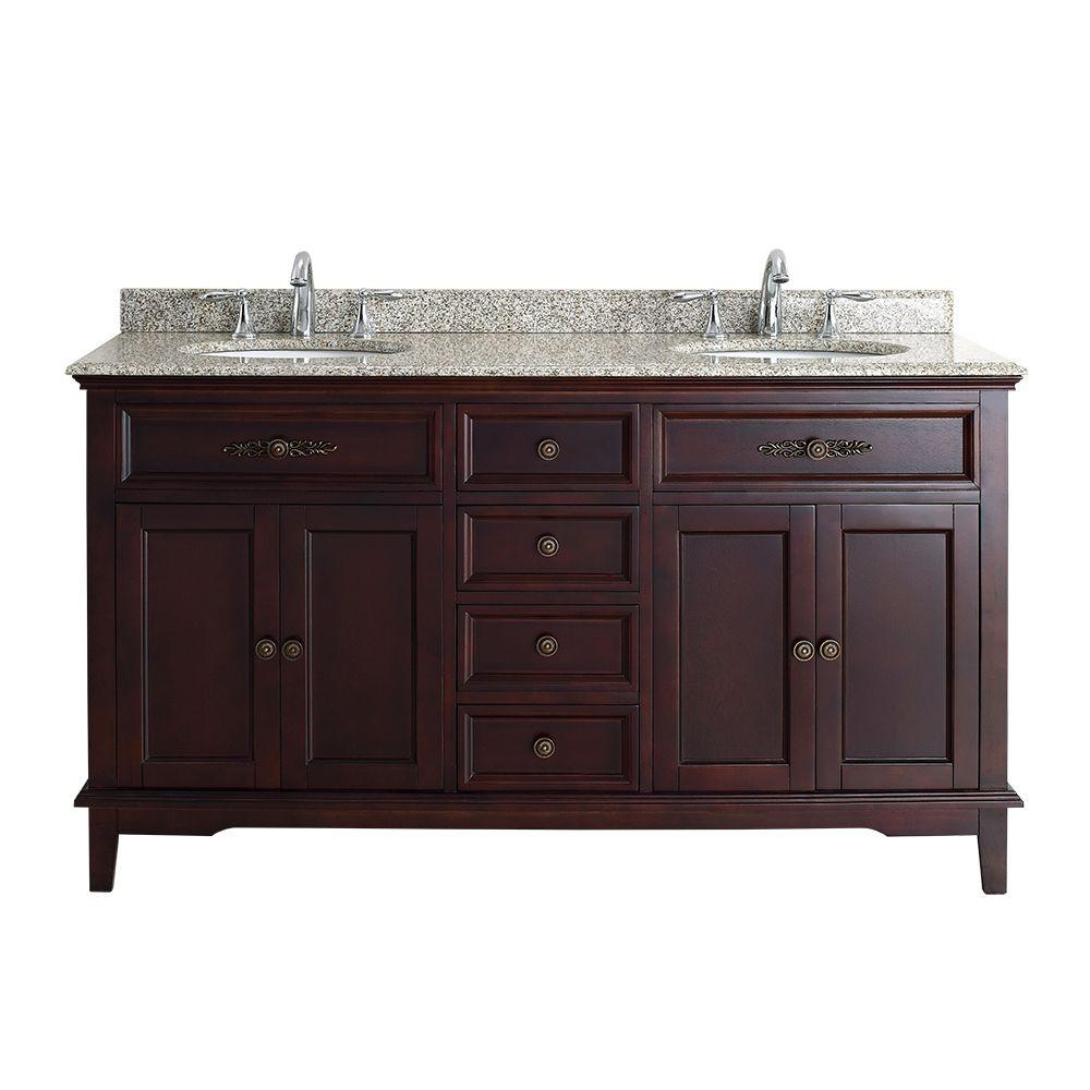 Ove Decors Dustin 60 In W X 21 In D Vanity In Tobacco With Granite Vanity Top In Sandy Speckle With White Basin Dustin 60 The Home Depot