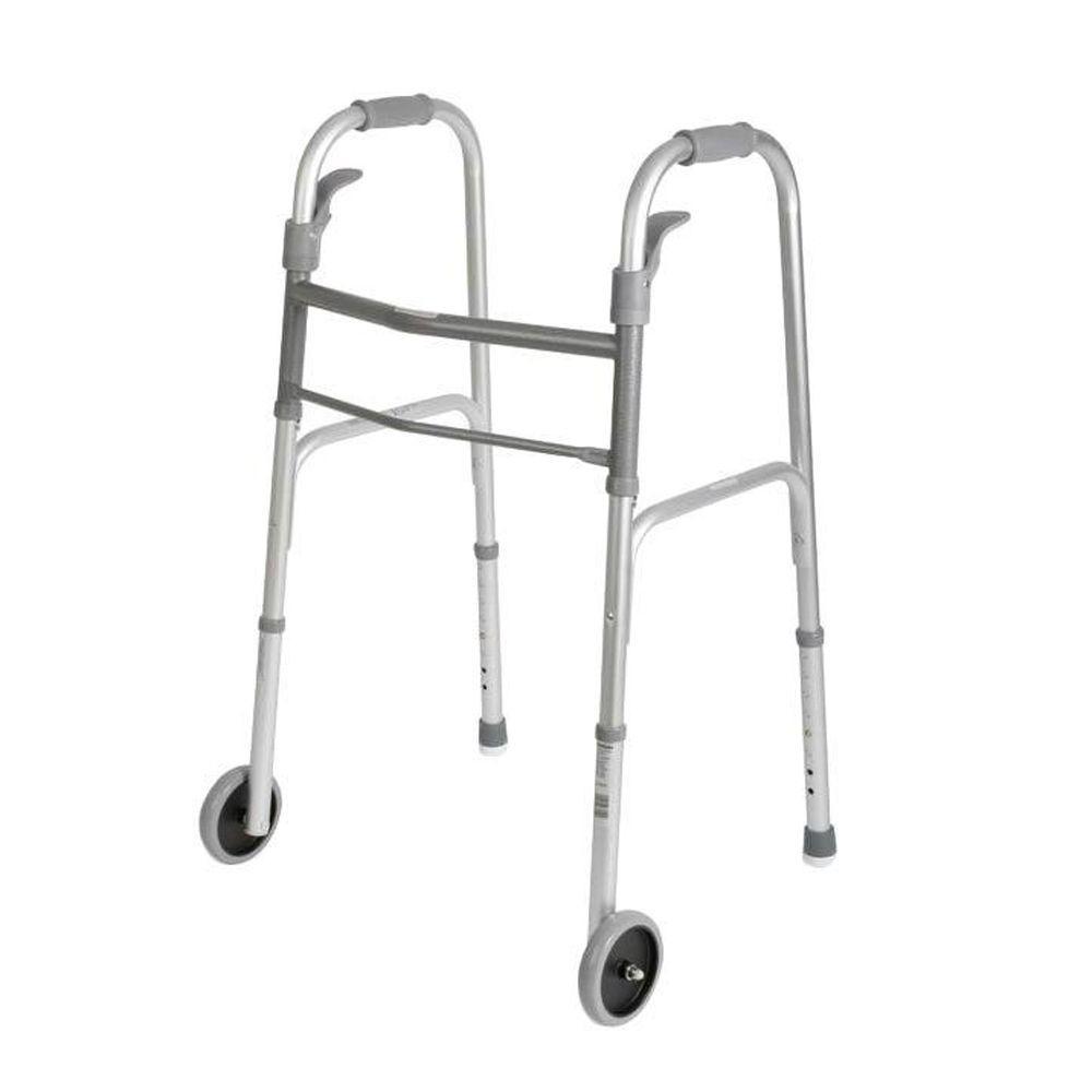 Medline 2-Button Basic Adult Folding Walker -DISCONTINUED