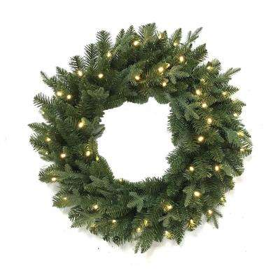 32 in. Pre-Lit Led Mix Pe Artificial Christmas Wreath With 50 Warm White Lights