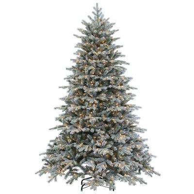 7.5 ft. Pre-Lit Natural Cut Flocked Vermont Spruce Artificial Christmas Tree with Clear Lights