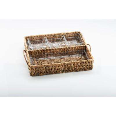 "Garden Terrace Dbl.Tray Server. Glass Tray 12.25""L, 5""W, 1""H, 3-Glass Bowls 3.75""sq.Water Hyacinth Holder, Gift Box"