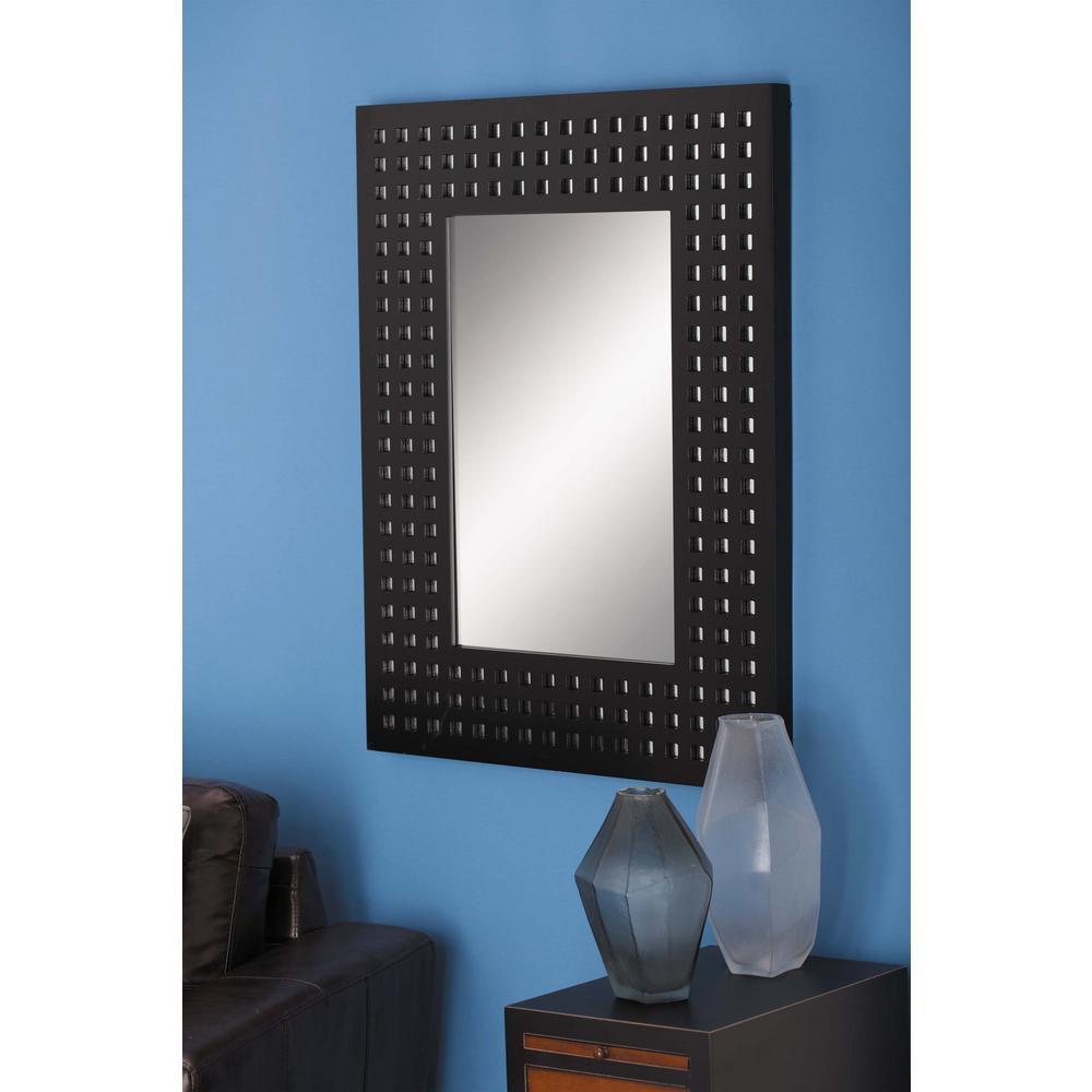 Medium Square Gray Contemporary Mirror (36 in. H x 28 in. W)