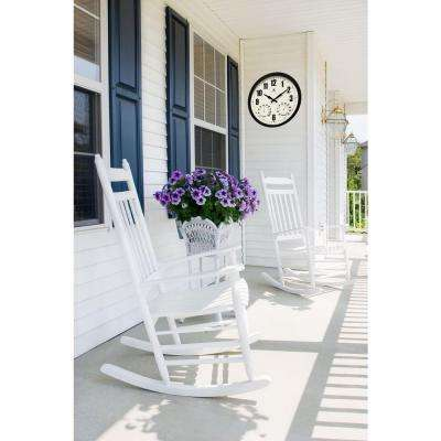 Patio Black 14 in. W x 14 in. L Round Outdoor Wall Clock