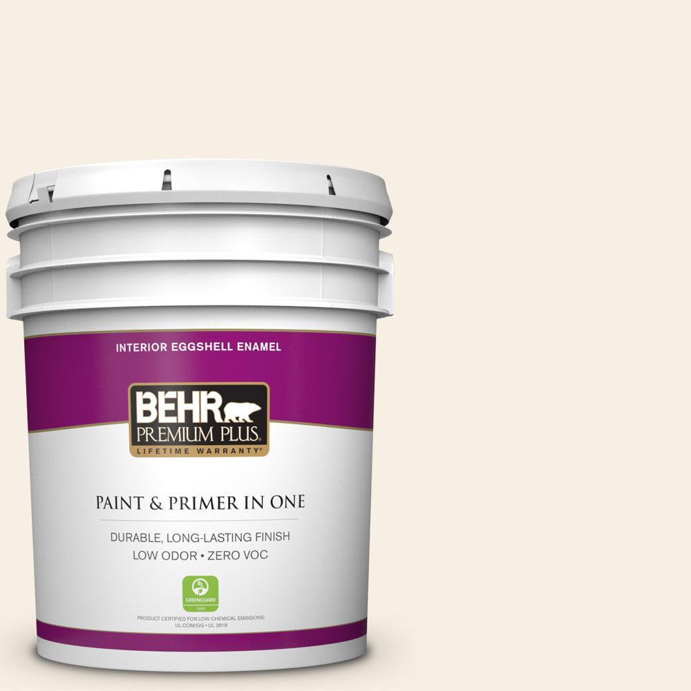 BEHR Premium Plus 5 gal. #GR-W14 Coconut Twist Eggshell Enamel Zero VOC Interior Paint and Primer in One