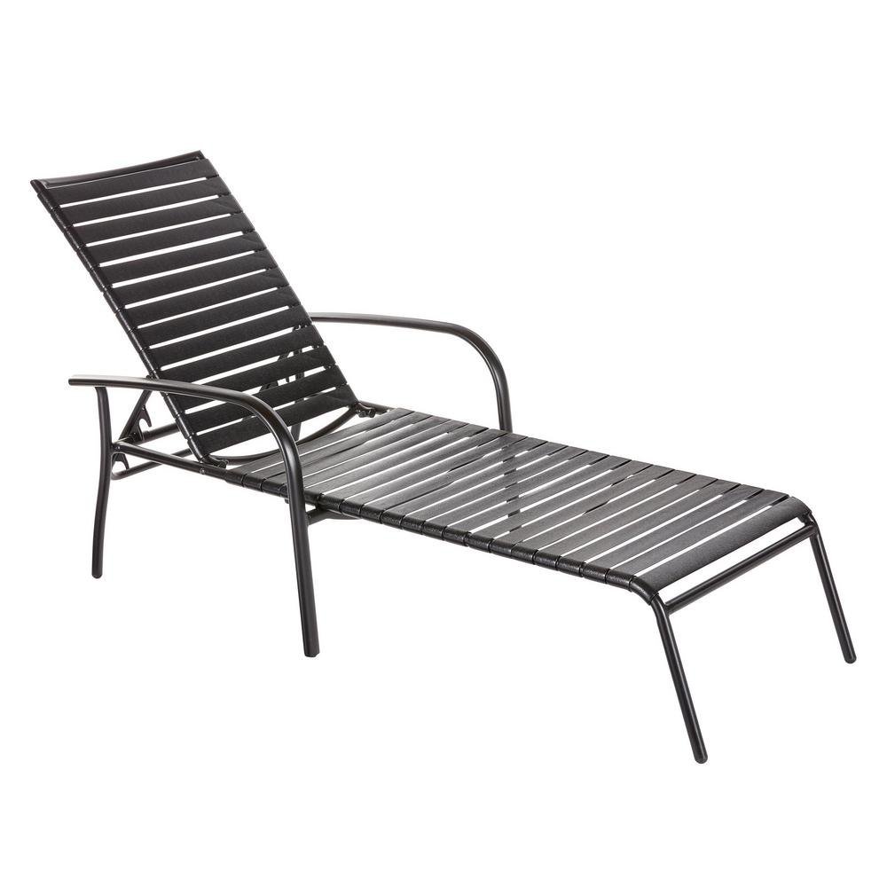 Hampton Bay Commercial Aluminum Black Strap Outdoor Chaise ...