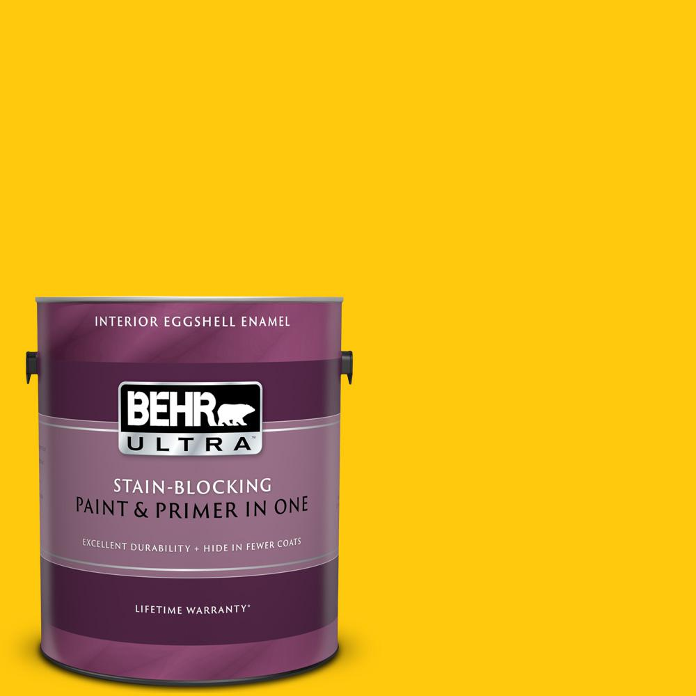 Behr Ultra 1 Gal 380b 7 Marigold Eggshell Enamel Interior Paint And Primer In One 275301 The Home Depot