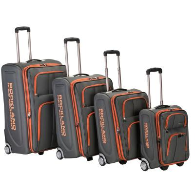 Rockland Expandable Luggage Varsity Polo Equipment 4-Piece Softside Luggage Set, Charcoal