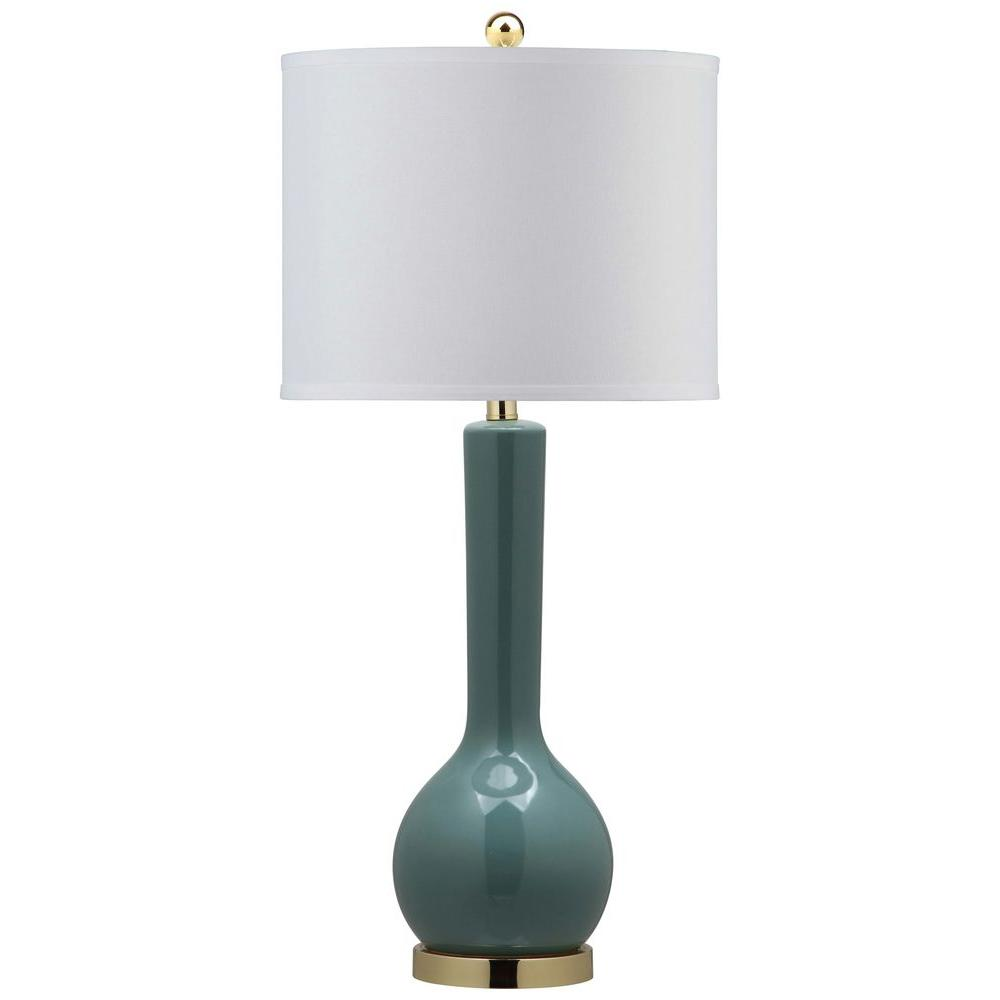 Mae 30.5 in. Marine Blue Long Neck Table Lamp with Off-White Shade