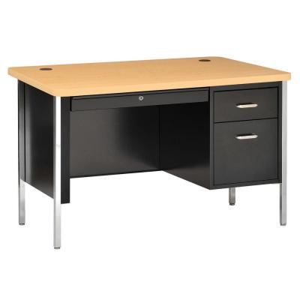 600 Series 29.5 in H. x 48 in. W x 30 in. D Single Pedestal Steel Desk in Black/Maple