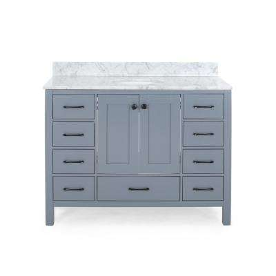 Lyndon 48 in. W x 22 in. D Bath Vanity with Carrara Marble Vanity Top in Grey with White Basin