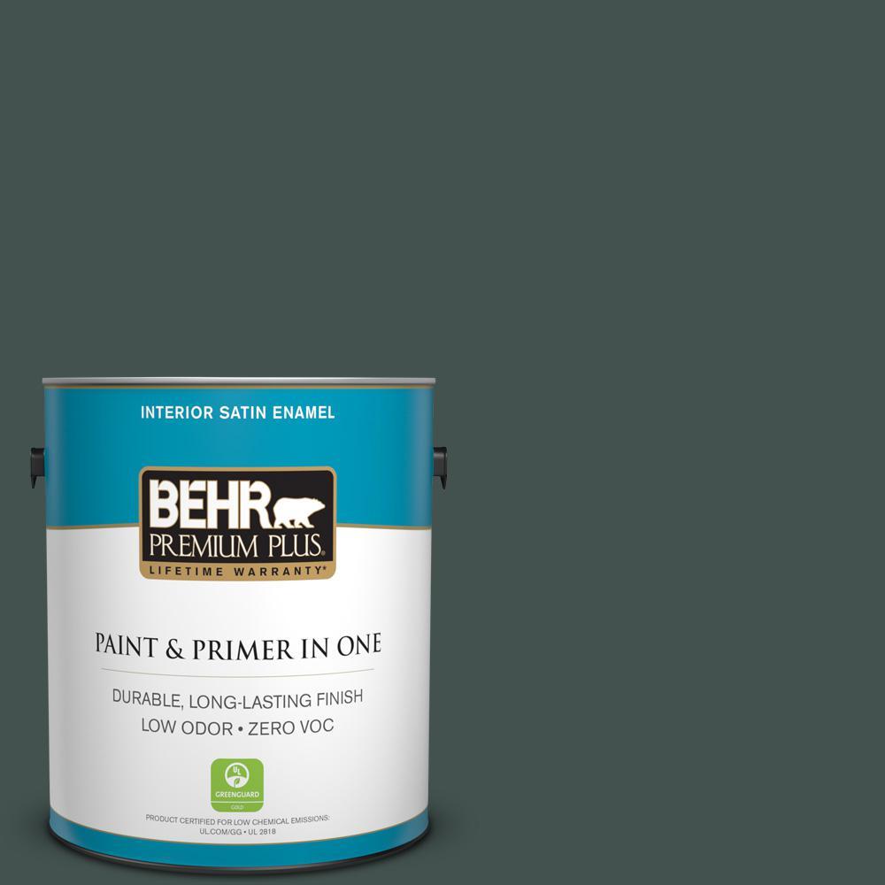 1 gal. #HDC-WR16-05 Evergreen Field Zero VOC Satin Enamel Interior Paint