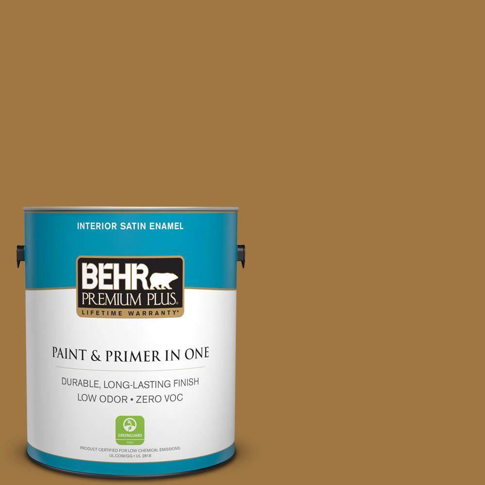 BEHR Premium Plus 1-gal. #310F-6 Goldenrod Tea Zero VOC Satin Enamel Interior Paint