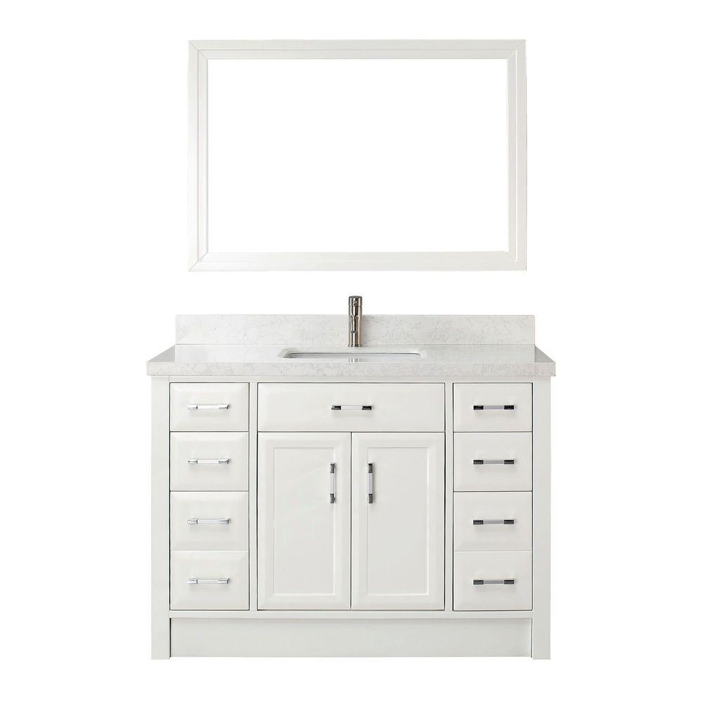 Studio Bathe Calais 48 in. W x 22 in. D Vanity in White with Engineered Marble Vanity Top in White with White Basin and Mirror