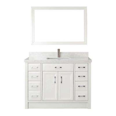 Calais 48 in. W x 22 in. D Vanity in White with Engineered Marble Vanity Top in White with White Basin and Mirror